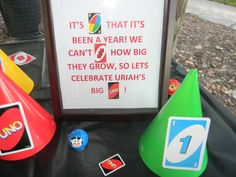 UNO themed first birthday sign