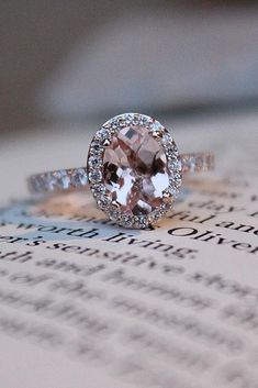 Engagement Ring That Was Created For A Special Bride ❤️ engagement ring gold oval morganite pave band halo ❤️ See more: http://www.weddingforward.com/engagement-ring/ #wedding #bride #engagementring