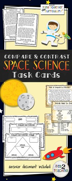Compare & Contrast Large Task Cards (SPACE SCIENCE) is a new addition to my Tying Together the Curriculum series. With so much to teach and such limited time, it is critical to integrate, or tie together, curriculum standards whenever possible. Each task card has two short paragraphs on highly tested space science topics for students to compare and contrast. In addition, you will also receive a collection of compare and contrast graphic organizers to help students organize their thinking.