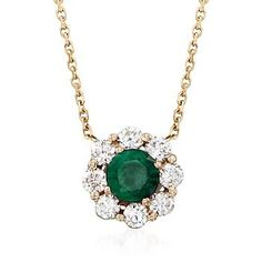 """Ross-Simons - .50 Carat Emerald and .48 ct. t.w. Diamond Necklace in 14kt Yellow Gold. 16"""" - #870224"""