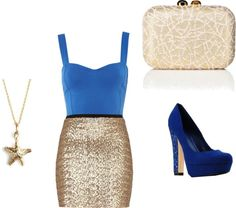 """""""Bule and Gold"""" by bombaloo on Polyvore... Love this Emily!"""