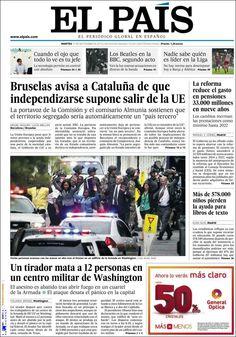 Los Titulares y Portadas de Noticias Destacadas Españolas del 17 de Septiembre de 2013 del Diario El País ¿Que le pareció esta Portada de este Diario Español?