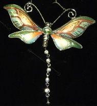 Franz Porcelain Dragonfly Rhodium Plated Brass & Porcelain Necklace