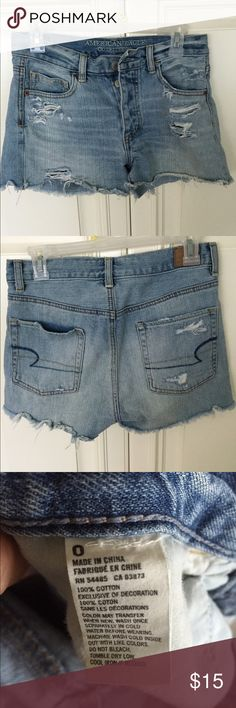 Denim shorts American Eagle Ripped look. Great condition! American Eagle Outfitters Shorts Jean Shorts