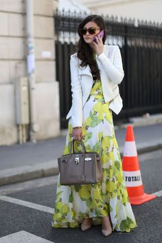 Love the juxtaposition of the flowery dress and the structured jacket