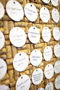 Wine cork board for escort cards.