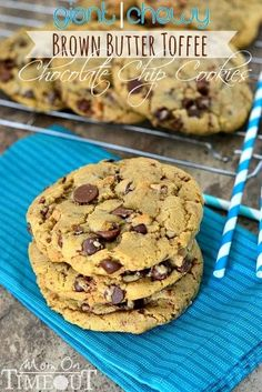 Giant, Chewy BROWN BUTTER TOFFEE  CHOCOLATE CHIP A-M-A-Z-I-N-G COOKIES from MomOnTimeout.com