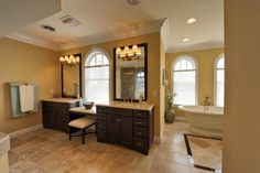 Make-up counter in front of window    Owners Bath - traditional - bathroom - philadelphia - Echelon Custom Homes