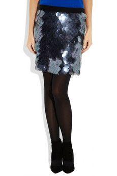 DKNY  Paillette-embellished stretch-silk mini skirt