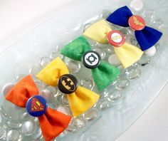 Justice League Logos Set of 5 Hair Bows. $25.00, via Etsy. I Want these for my daughter so badly