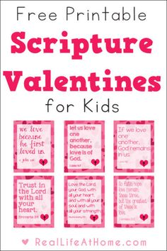 Looking to share some religious valentine cards this year? These free printable Scripture Valentines for kids are perfect for class or homeschool group parties, as well as to use as lunch box notes throughout the year.   Real Life at Home