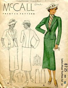"McCall 8725; ca. 1930s; Ladies'& Misses' Two-Piece Suit. Add a photo to the gallery by clicking the ""modify"" button below."