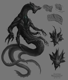 d&d sea monsters Monster Art, Monster Concept Art, Alien Concept Art, Creature Concept Art, Monster Design, Creature Design, Mythical Creatures Art, Alien Creatures, Monster Illustration