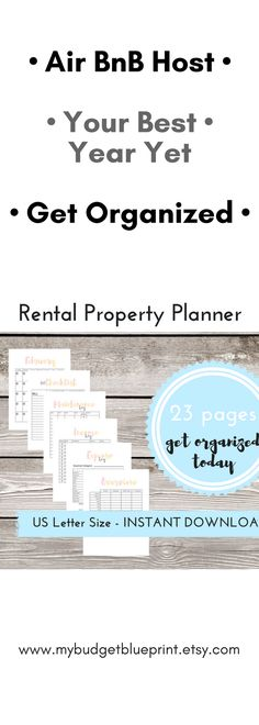 best year yet with you airbnb, track your finances with this printable planner. complete throughout the year and simply pass over to your accountant for your taxes Rental properties are more fun to manage when you're organized