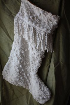 Vintage Chenille Christmas Stocking..Off White, Fringe, Shabby Chic, Up-Cycled Bedspread on Etsy, $32.00
