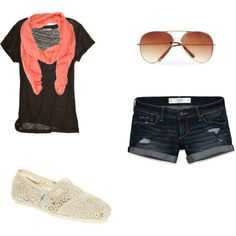 Cute summer outfit! Thin black tee over jean shorts with a light coral scarf. Love the aviators and white crochet Toms.