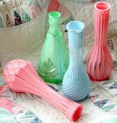 Painted flea market glass vases.