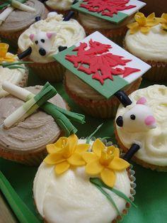 sheep, dragon, daffodils and leeks.