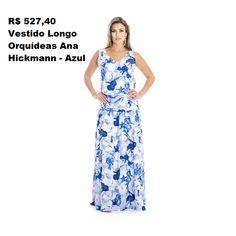7cb6c7b3d Vestido Longo Orquídeas Ana Hickmann - Azul Desejo absoluto. Vestido  confeccionado em tecido leve,