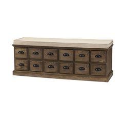 Corollary 12-Drawers Driftwood Shoe Storage Bench, Weathered Oak