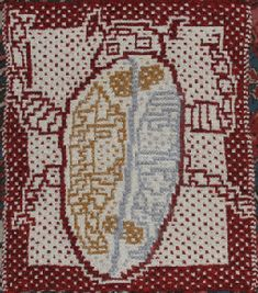 Suzann Thompson's mosaic knitting version of one of her daughter's drawings; Suzann's Textilefusion
