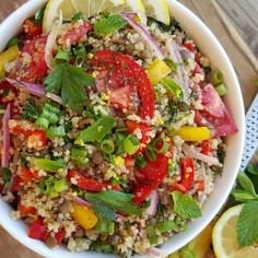This was a happy accident tonight when I needed a salad for a party. The flavor makes the quinoa completely irresistible! Serves 4-6 Ingredients: 2 cups cooked quinoa 1 cup cooked green lentils, drained well 2 small cloves of garlic, minced very fine 4 Tbsp chopped green onions 3 ripe tomatoes...