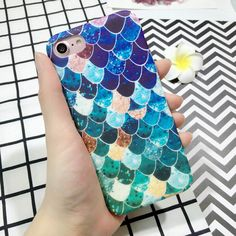 LOVECOM For iPhone 7 6 6S Plus For iPhone 7 Plus Case Scrub Mermaid Fish Scales Back Cover PC Material Hard Phone Cases YC2095