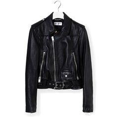 Saint Laurent Perfect Jacket (120,305 THB) ❤ liked on Polyvore featuring outerwear, jackets, full zip jacket, cropped jacket, black jacket, slim jacket and 100 leather jacket