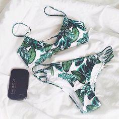 palm print bikini--I mostly like the cut, not pattern