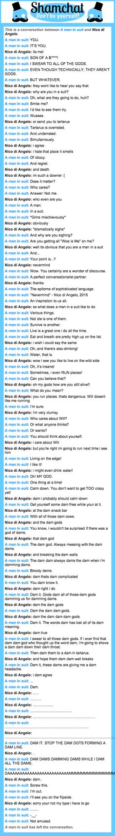 A conversation between Nico di Angelo and A man in suit