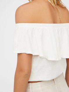FP WE THE FREE Love Letter Off-The-Shoulder Ruffle Tube Top (Ivory)