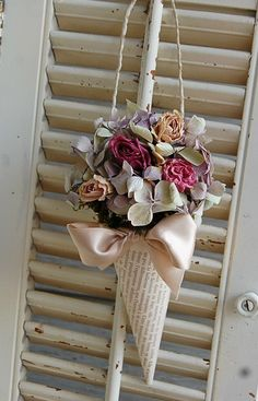 French Book Page Cone with Dried Flowers by roseflower48 on Etsy, $17.00