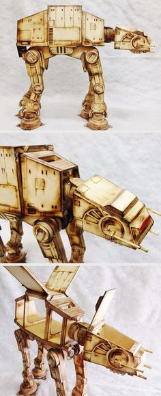 """Made of Baltic birch plywood scraps. 20"""" tall, fully poseable, pivoting """"gull-wing"""" doors, weighted feet, and more. An amazing present for a Star Wars fan."""