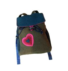 Kids felted wool backpack with adjustable straps in olive green, blue and magenta by Tularoo on Etsy