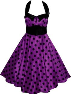50s Purple Satin Polka Dot Rockabilly Swing Prom Pin-Up Dress: Amazon.co.uk: Clothing