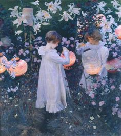 Carnation, Lily, Lily, Rose by John Singer Sargent. I love John Singer Sargent. Such amazing glows of light in his paintings. Carnation Lily Lily Rose, Beaux Arts Paris, Google Art Project, Tate Gallery, Tate Britain, Renoir, Great Paintings, Popular Paintings, Beautiful Paintings