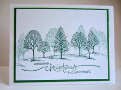 handmade Christmas card from Paper Seedlings ... winter scene with Lovely as a Tree shadow stamped for depth .. delightful ... Stampin' Up!