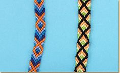 Friendship Bracelet Pattern: Diamonds or Fish / Diseño de pulsera de la amistad: diamantes o peces
