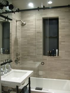 small bathroom- inset shower storage