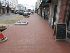 Waltham, MA - Authentic clay pavers revitalize historic downtown area. English Edge Red - Pine Hall Brick