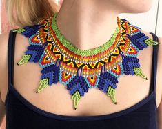 Beaded huichol necklace African tribal boho jewelry Seed beads ethno choker Green beads collar necklace Colorful statement beadwork – The World Beaded Collar, Beaded Choker, Beaded Earrings, Collar Necklace, Beaded Necklaces, Tribal Earrings, Beads Jewelry, Boho Jewelry, Beaded Jewellery