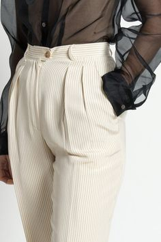 Vintage 90s Ivory and Black Striped High Waist Pleated Ralph Lauren Trousers…