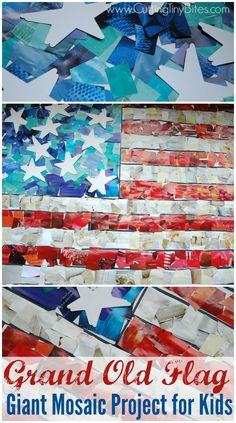 Fourth of July flag craft for kids. Fourth of July flag craft for kids. Group Art Projects, Mosaic Art Projects, School Art Projects, Class Projects, Collaborative Art Projects For Kids, Art Auction Projects, Patriotic Crafts, July Crafts, Kids Crafts