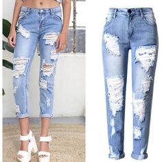 Holes Ripped Straight Slim Beggar Plus Size Jeans ($34) ❤ liked on Polyvore featuring jeans, slim straight leg jeans, distressed jeans, ripped jeans, white jeans and plus size jeans