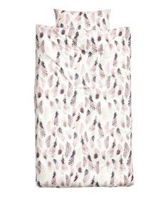 Kuviollinen pussilakanasetti | Valkoinen/Höyhenet | Home | H&M FI