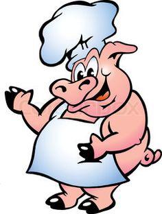 happy cartoon pig chef standing beside smoking bbq rib cooker rh pinterest com pig roast clipart free pig roast clip art pictures