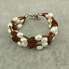 High luster pearl leather braceletbrown by WangDesignJewelry