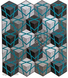 Cubes and Stars quilt, in:  Amazingly Simple Triangle Stars quilts by Barbara H. Cline.  Available August, 2015.