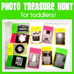 A perfect Treasure Hunt for young toddlers & preschoolers who cannot read yet OR take close up pics of various items and have party game players find the objects in the photos
