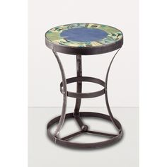 Ugone and Thomas Round Steel Accent Table in New Capri Periwinkle AC20-NC, Artistic Artisan Designer Tables
